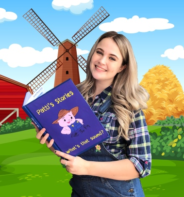 Jenny with Book on Farm
